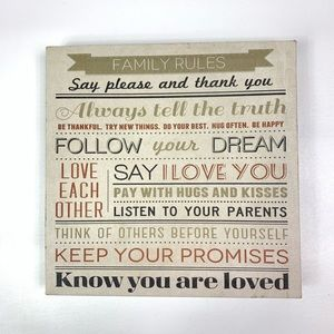 Family rules canvas wall decoration